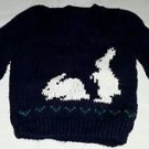 Handmade Knit Baby Boy Toddler VNeck Pullover Bunny Rabbits Sweater sz 2T Navy