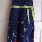 Girls Bonnie Jean 7 Butterflies Midi Cotton Ribbon Bow Sash Sundress Dress Navy
