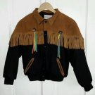 Vintage Identity Leather Fringe Tassels Wool Western Kids Boys Youth Jacket 12