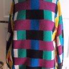 Flyer Flying Sportswear Knit Sweater Mid Century Loud Plaid Colorblock Womens L