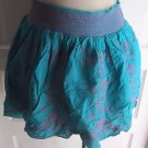 Womens L Aeropostale Skirt Embroidered Smocked Mini Swing Flare Turquoise Purple