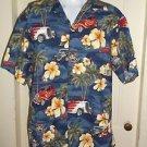 Mens RJC Ltd Hawaii Hawaiian Camp Casual Button Up shirt XL Hot Rods Cars Floral