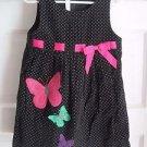 Girls Bonnie Jean 4 Polka Dot Corduroy Butterfly Applique Embellished Midi Dress