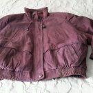 NOS Vintage Falls Creek Leather Bomber Style Jacket womens Large Raspberry Korea