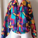Cliche Tribal African Art to wear zip up JACKET blazer womens small silky/satin