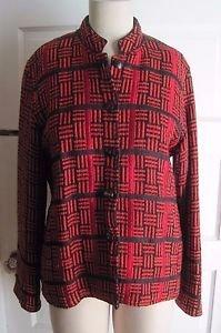 Womens Yak Magik Cotton Silk Mandarin Collar Asian Inspired Red Blazer Jacket L