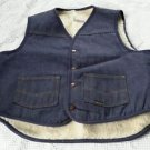 Vintage Sears Roebucks Western Wear Sherpa Shearling Lined Jean Vest Mens Large
