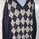 Pringle of Scotland 100% Cotton Argyle Knit VNeck Sweater Mens M Pullover