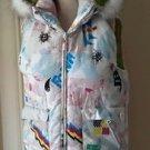 Forum Snowboard Hooded Fur Trim Full Zip Up Vest Womens M Graffiti Art to Wear