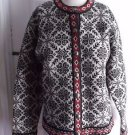 LL Bean Merino Lambswool Fair Isle Sweater Snowflake Pewter Buttons Womens M