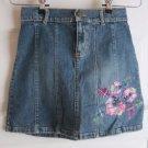 Gap Kids Stretch Embellished Embroidered Floral Denim Blue Jean Skirt Girls 10