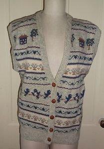 Vintage Woolrich Woman Landscape Bird Country Knit Wool Button Up Sweater Vest L