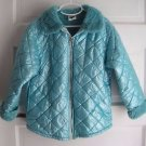 Mullberribush Faux Fur Lined Little Girls Metallic Quilted Jacket Coat 6X 7 USA