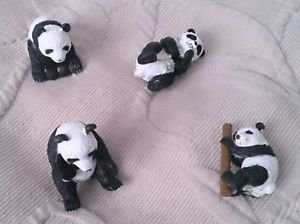 "Lot 4 Panda Bears Safari Ltd Wild Animals Asian Play Toys RUBBER Figures 1.5"""
