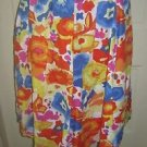 Liz Claiborne New York Floral 100% Linen Floral Pleated Swing Skirt Womens sz 14