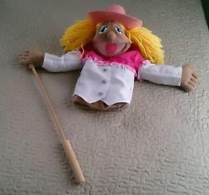 "Melissa & Doug Cowgirl Doll hand stick Puppet Big Mouth Sally Pink Hat 16"" plush"