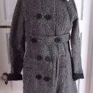 Quiksilver Faux Shearling Double Breasted Herringbone Tweed Wool Coat Womens S