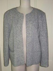 Orvis Wool Tweed Collarless Wrap Open Front Jacket blazer womens M