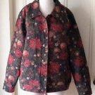 Tog Shop Tapestry Brocade Poinsettia Jacket Blazer Womens XL Christmas Holiday