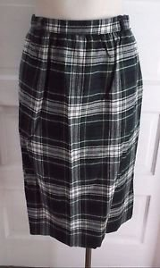 Vintage Womens 80s LL Bean Tartan Scotch Plaid Pleated Wool Skirt 12 Belt Loops