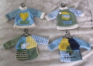 4 Teresa Kogut LOVE FAITH PEACE BELIEVE Sweater Shirt BEAR DOLL Metal Hangers