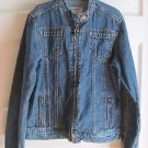 Old Navy Kids Girls Stand Up Collarless Moto Cafe Denim Blue Jean Jacket L