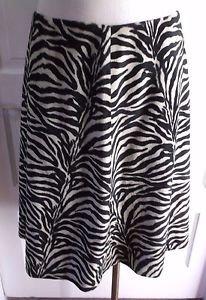 Betsey Johnson New York Zebra Animal Print Faux Fur A-Line Swing Skirt Womens 10