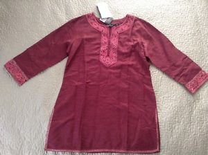Trendz 3/4 sleeve woven top silk blend slim fit embroidered trendy trends xl