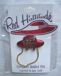 Red Hattitude Hat Society Eyeglass Holder Pin Brooch 18 kt Gold Finish Brim Bow