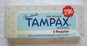 Vintage 1978 New Slender Tampax Tampons Trial Package USA Movie Prop Advertising