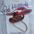 Red Hattitude Hat Society Eyeglass Holder Pin Brooch 18 kt Gold Finish Cowboy