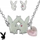 Playboy Jewelry Set Necklace Earrings Heart Kissing Bunny Logo Platinum Plated