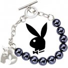 Playboy Bracelet Bunny Logo Heart Charm Silver Platinum Plated Faux Pearl Glass Beads