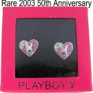 Playboy Earrings Heart Stud Bunny Logo Swarovski Crystal 50TH ANNIVERSARY