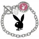 Playboy Bracelet Bunny Logo Charm Platinum Plated Pink Enamel Swarovski Crystal