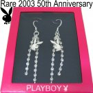 50TH ANNIVERSARY PLAYBOY Earrings Bunny Logo Swarovski Crystal Long Dangle Silver Plated