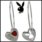 Playboy Hoop Earrings I Love Bunny Heart Charm Platinum Plated Enamel Logo