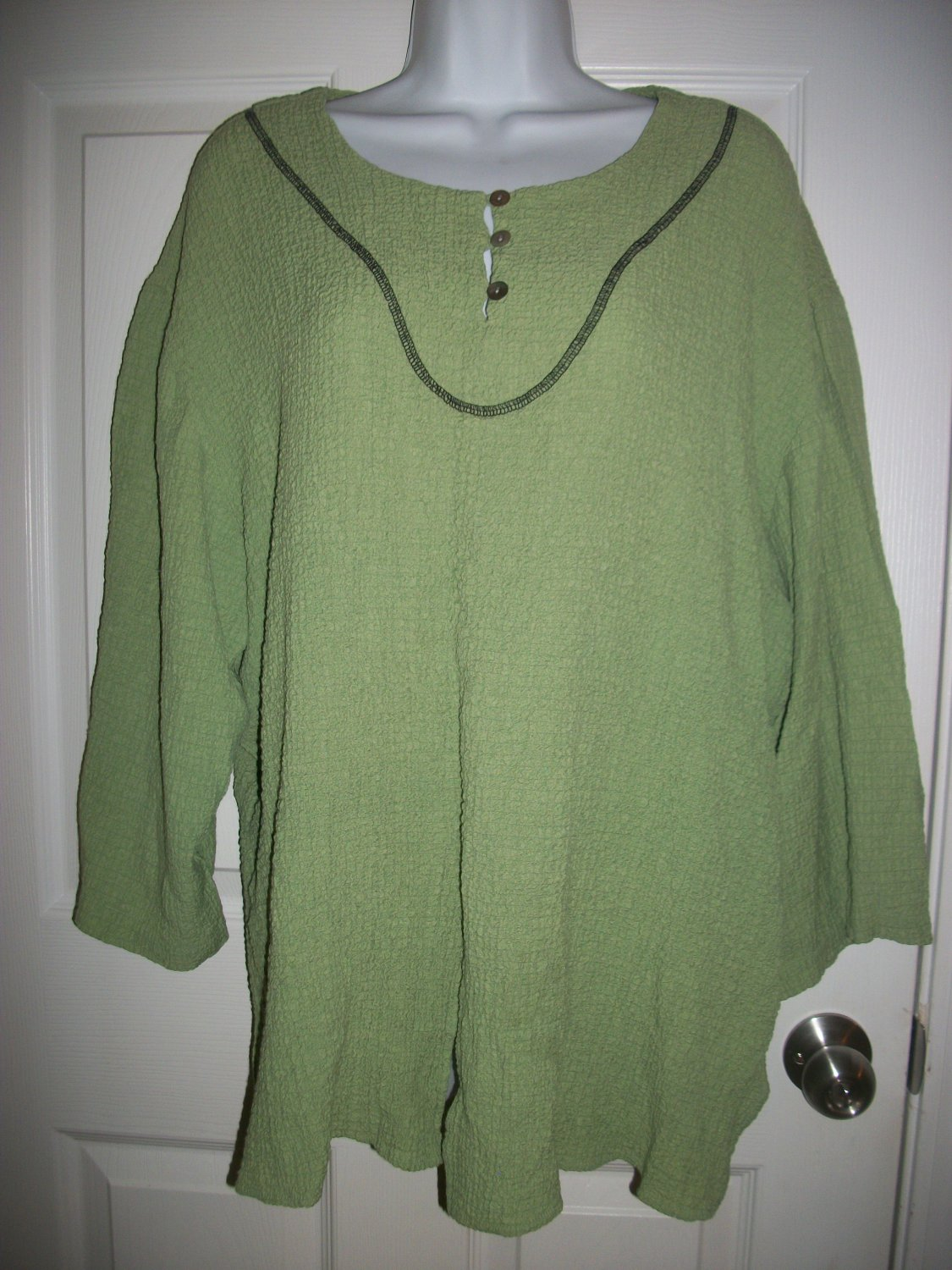 Anna Maxwell Women's Green Crinkled Top Shirt Size 3XWP