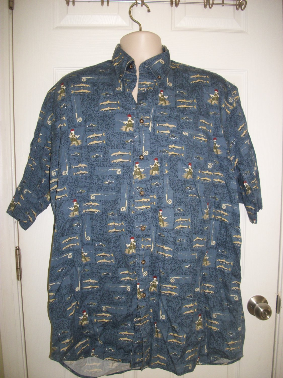 Foxfire Sportswear Men's Blue Fishing Print Short Sleeved Shirt Size XT