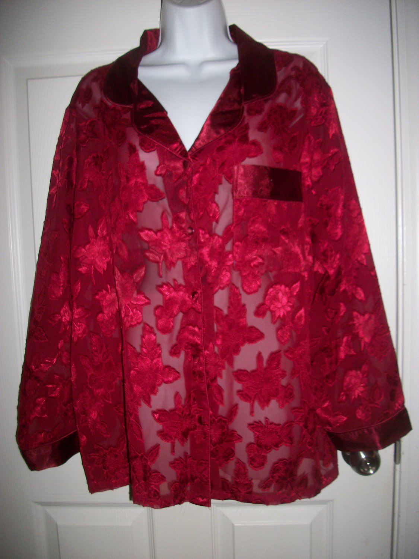 Secret Treasures Women's Red Floral Sheer Shirt Sleep Top Size L