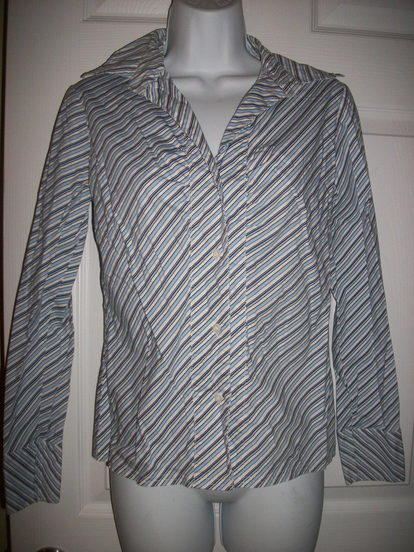 New York & Company Citystretch Women's Blue & White Striped Shirt Size XS