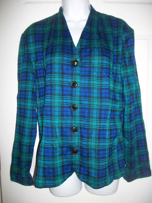 Leslie Fay Women's Vintage Blue & Green Plaid Jacket Blazer Size 16