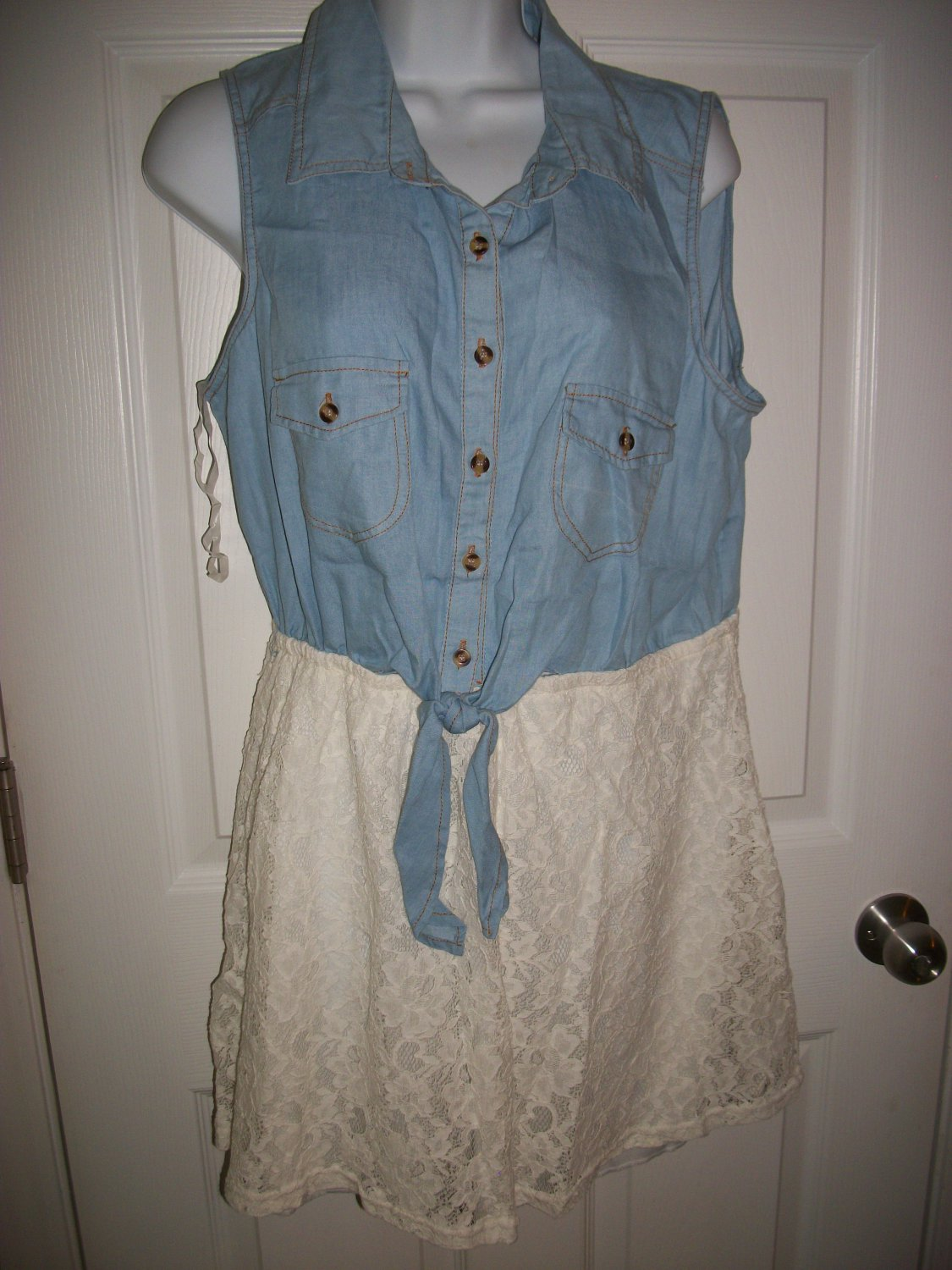 Rue 21 Junior's Blue Denim & White Lace Sleeveless Dress Size XL
