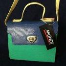 Vintage 70s brand new mundi kelly lizard grain purse handbag green blue yellow