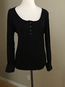 Route 66 womens long sleeve shirt top size L black
