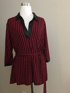 Unique spectrum womens top long sleeve blouse size L red and black