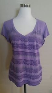 New york & company womens t-shirt tee top size L purple