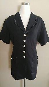 Vintage first option womens button down shirt blouse top size 18 black