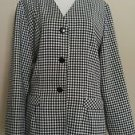 Christy girl cg womens blazer top size 16 black & white checkers