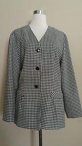 Christy girl cg womens blazer top size 16 black & white checkers